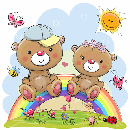 Two Cute Cartoon Teddy Bears are sitting on the rainbow