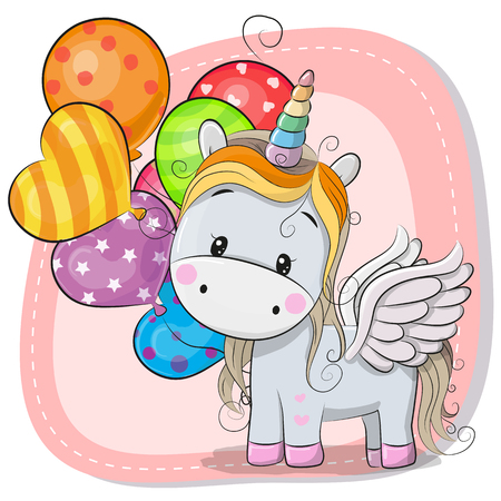 Greeting card Cute Cartoon Unicorn with balloon