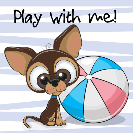 ピンクの背景にボールを持つかわいい子犬