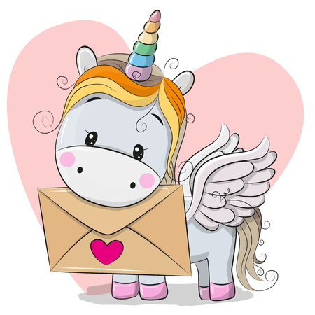 Valentine card with cute cartoon Unicorn holding envelope Vectores