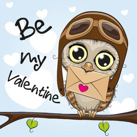 귀여운 만화 올빼미와 발렌타인 카드 봉투를 들고