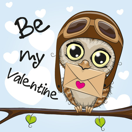 Valentine card with cute cartoon Owl holding envelope