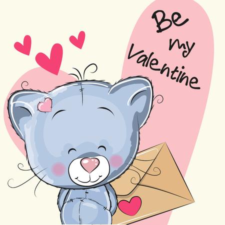 Valentine card with cute cartoon Kitten holding envelope Illustration