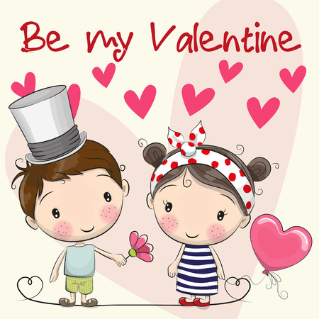 Valentines card with Cute Cartoon boy and girl