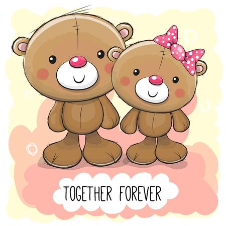 Valentines card with Cute Cartoon Teddy Bear boy and girl