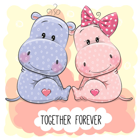 Valentines card with Cute Cartoon Hippos boy and girl