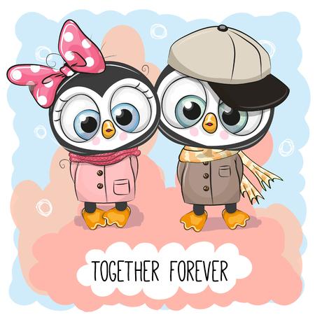 귀여운 만화 펭귄과 발렌타인 카드 소년과 소녀