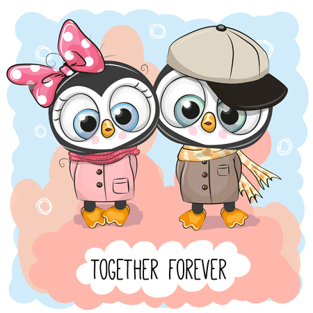 Valentines card with Cute Cartoon Penguins boy and girl