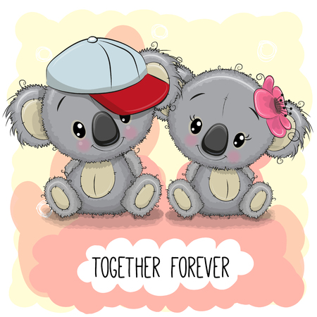 Valentines card with Cute Cartoon Koalas boy and girl Illustration