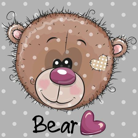 Cute Cartoon Teddy Bear head on a gray background