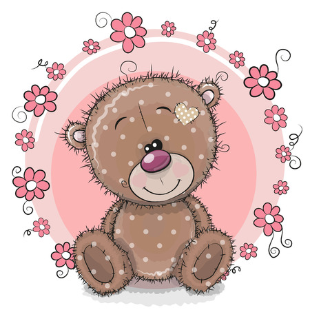 Greeting card cute cartoon Teddy Bear with flowers