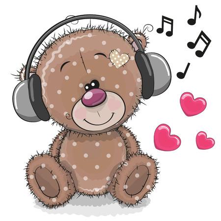Netter Karikatur Teddybär mit Kopfhörern auf einem weißen Hintergrund Vektorgrafik