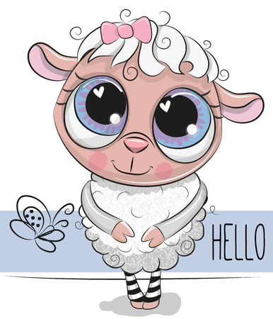 Cute Cartoon Sheep on a white background  イラスト・ベクター素材