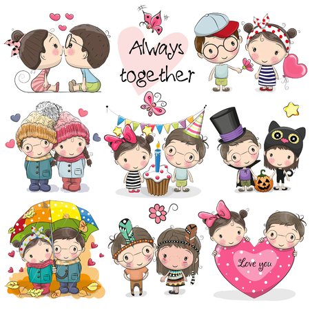 Set of Cute Cartoon Boy and Girl on a white background.