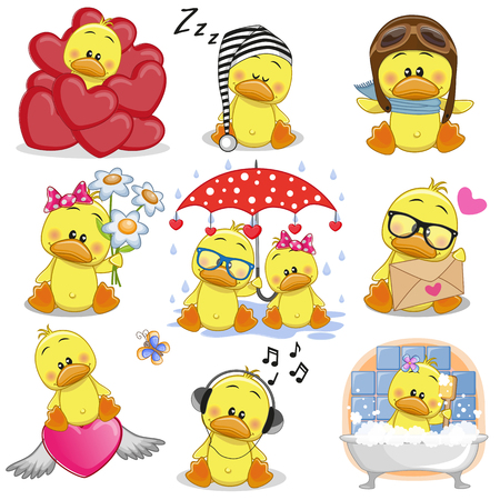 Set of Cute Cartoon Ducks on a white background.