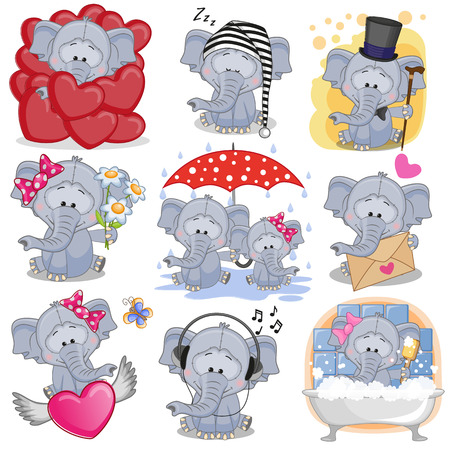 Set of Cute Cartoon elephants on a white background. Ilustracja
