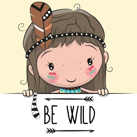 Cute Cartoon tribale meisje met een veer op een gele achtergrond