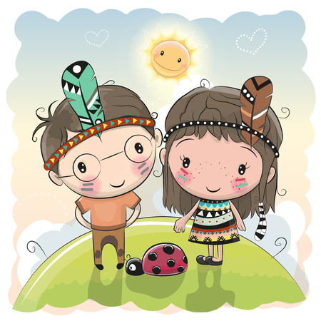 Cute cartoon tribal girl and boy with feather on the meadow.