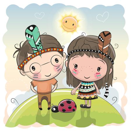 Cute cartoon tribal meisje en jongen met veer op de weide.
