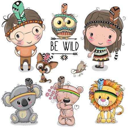 かわいい漫画部族の女の子と少年と動物のセット  イラスト・ベクター素材
