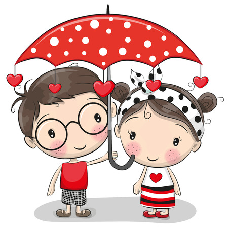 Cute cartoon boy and girl with red umbrella.