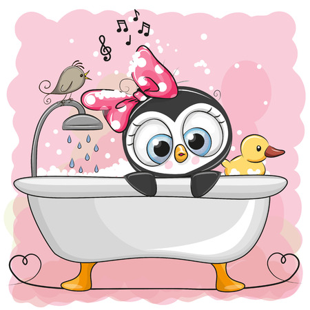 Cute cartoon penguin girl in the bathroom on a pink background. Illustration