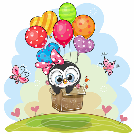Cute cartoon penguin in the box is flying on balloons.