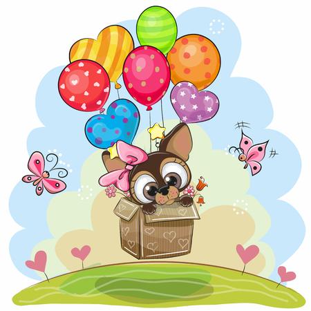 상자에서 귀여운 만화 강아지 풍선에 날고있다.