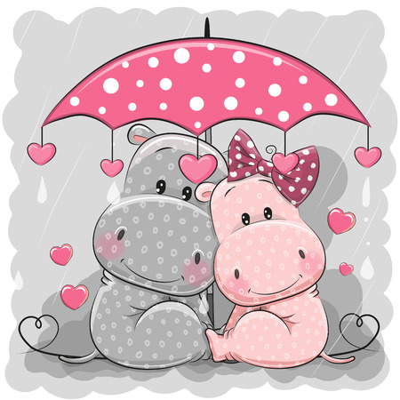 Two cute cartoon hippos with umbrella under the rain. Vectores
