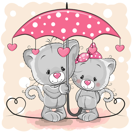 Two cute cartoon kittens with umbrella under the rain.