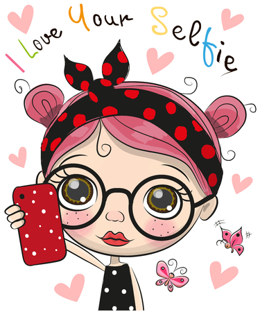 Vector cute cartoon girl with glasses makes selfie Stock Illustratie