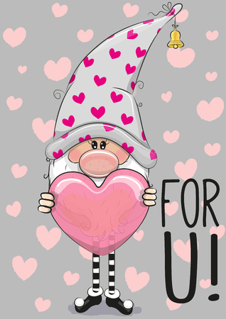 Cute Cartoon gnome with heart on a gray background
