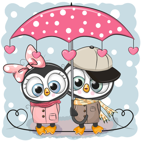 Two Cute Cartoon Penguins with umbrella under the rain Vectores