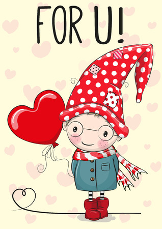 Cute Cartoon gnome with balloon heart on a hearts background
