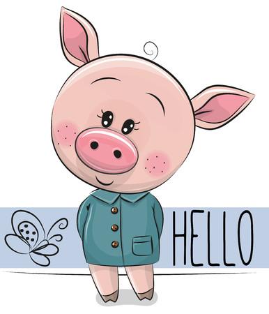 白い背景に隔離されたかわいい漫画豚