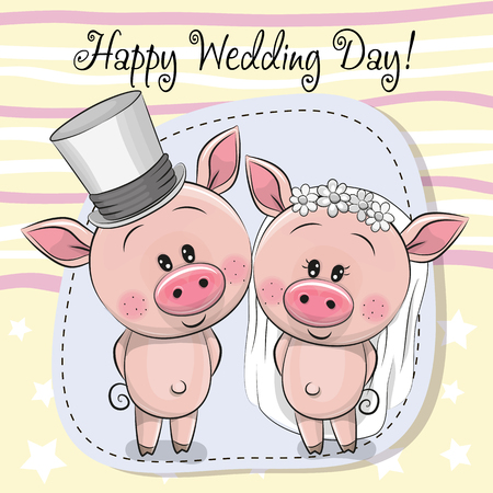 Greeting card Cute Piggy Bride and Piggy groom Illustration