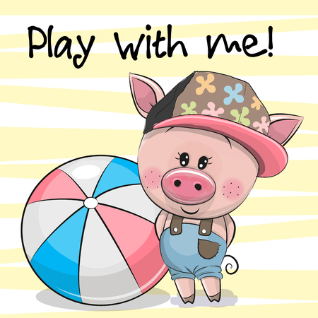 Cute Cartoon Pig with a ball on a yellow background