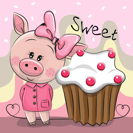 Greeting card Cute Cartoon Pig with cake Illustration
