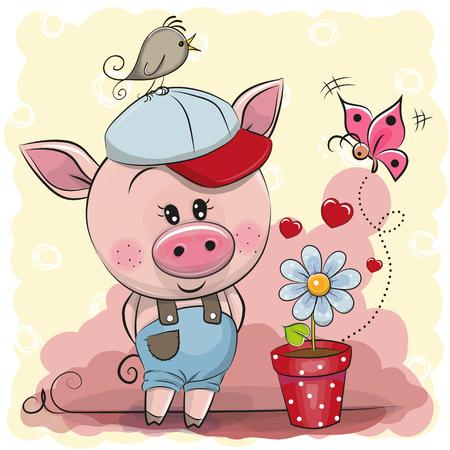 Greeting card cute cartoon Piggy boy with flower