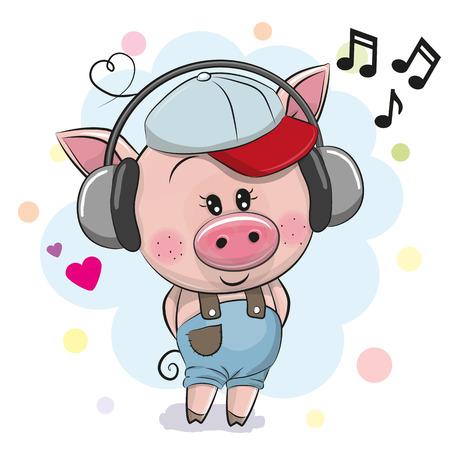 Cute cartoon Pig in a cap with headphones
