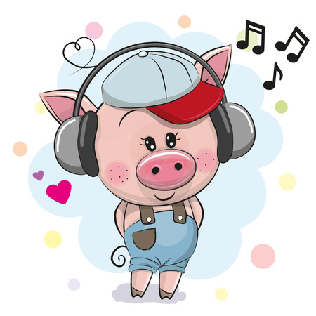 Cute cartoon Pig in a cap with headphones