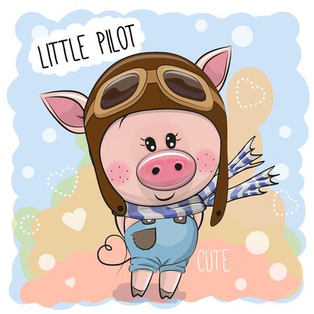 Cute cartoon Pig in a pilot hat Illusztráció