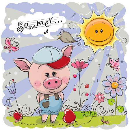 Cerdo de dibujos animados lindo en el prado con flores Foto de archivo - 96058718