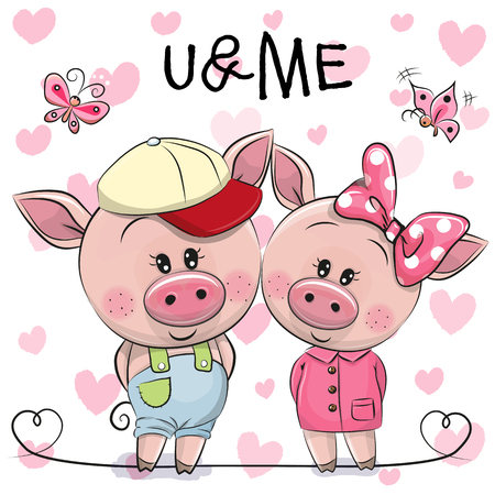Two cute Cartoon Pigs on a hearts background