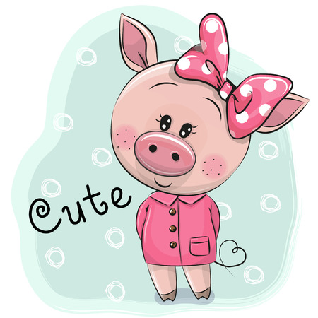 Cute Drawing Piggy girl isolated on a blue background