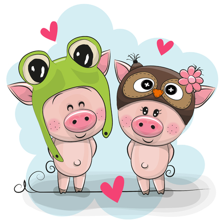 Two Cute Cartoon Pigs in a frog and owl hat