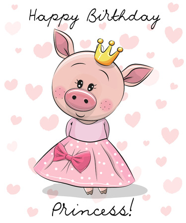 Happy Birthday Card with cute Princess Pig Stock Illustratie