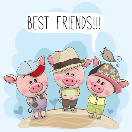 Three friends cute cartoon pigs and a bird  Stock Illustratie