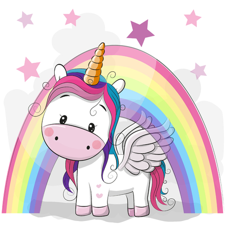 Cute Cartoon Unicorn and rainbow on a stars background 向量圖像