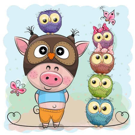 Cute Cartoon Pig in a owl hat and five Owls